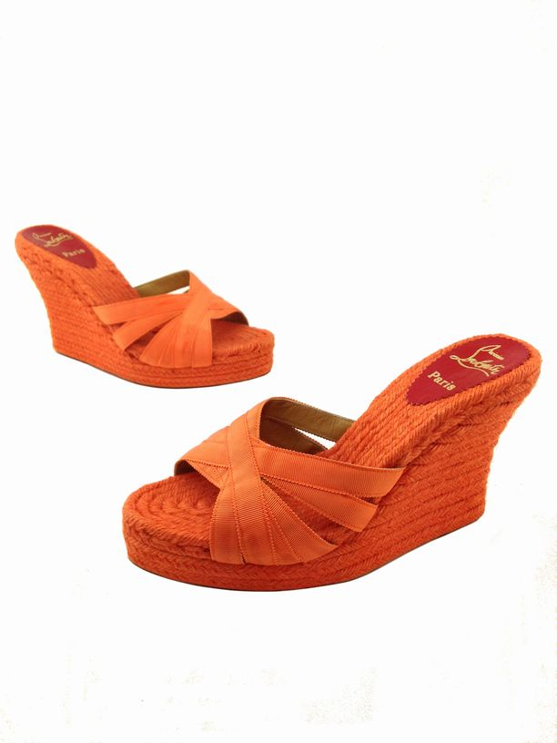81f316b3fbb4 Christian Louboutin Cataribbon Espadrille Wedges Size 11 Orange .