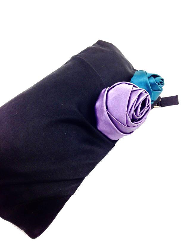 NEW Prada Satin Raso Rosette Clutch Bag Black | Consigned Designs ...