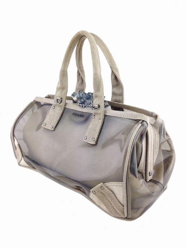 Prada Plex Mistolino Crystal Cluster Clasp Large Satchel Bag ...