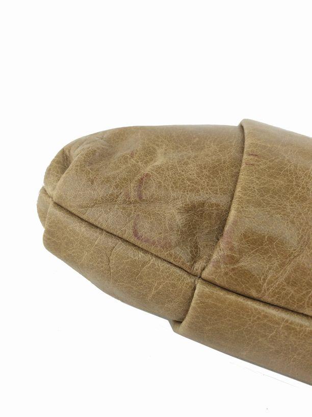Prada Vitello Daino Pleated Wristlet Clutch Bag Camel | Consigned ...