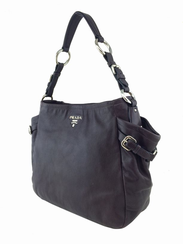 Prada Vitello Daino Side Pocket Bag Dark Purple | Consigned ...