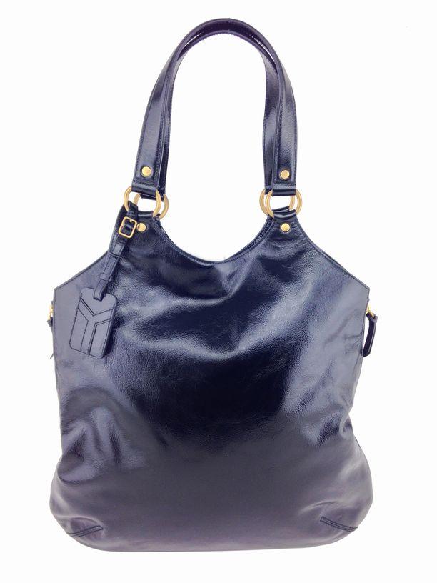 Yves Saint Laurent Patent Leather Large Tribute Bag Black ...