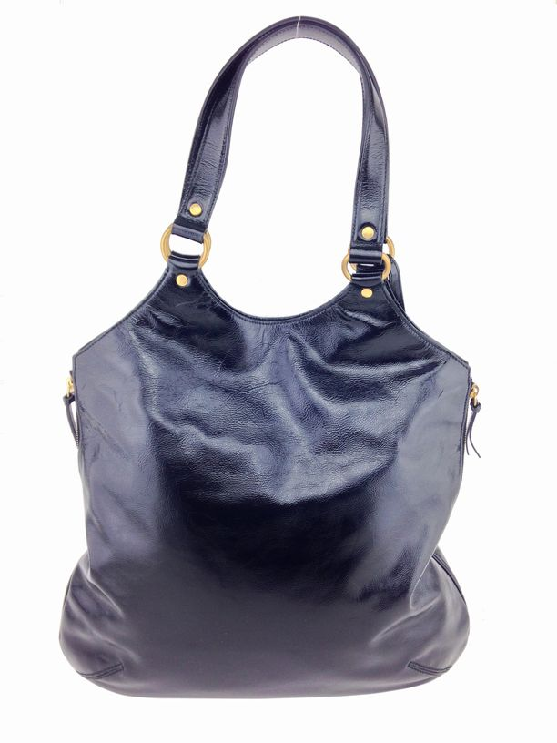 Yves Saint Laurent Patent Leather Large Tribute Bag Black ...