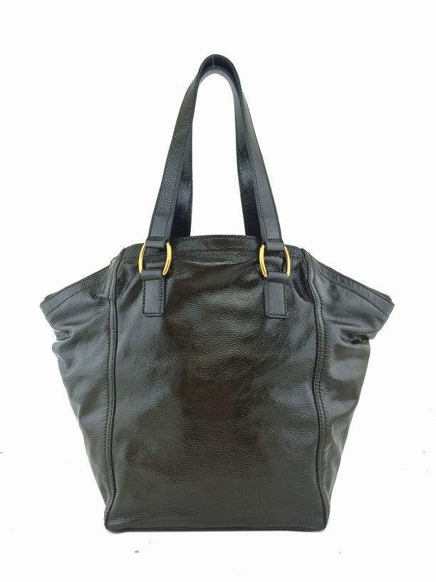 Yves Saint Laurent Patent Leather Small Downtown Tote Bag Olive ...