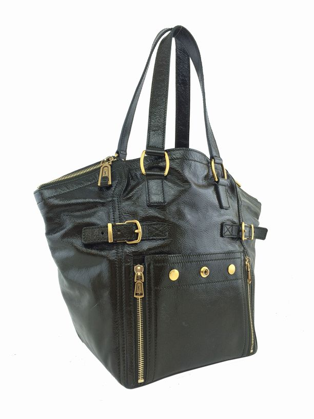 yves st laurent canada - Yves Saint Laurent Patent Leather Small Downtown Tote Bag Olive ...