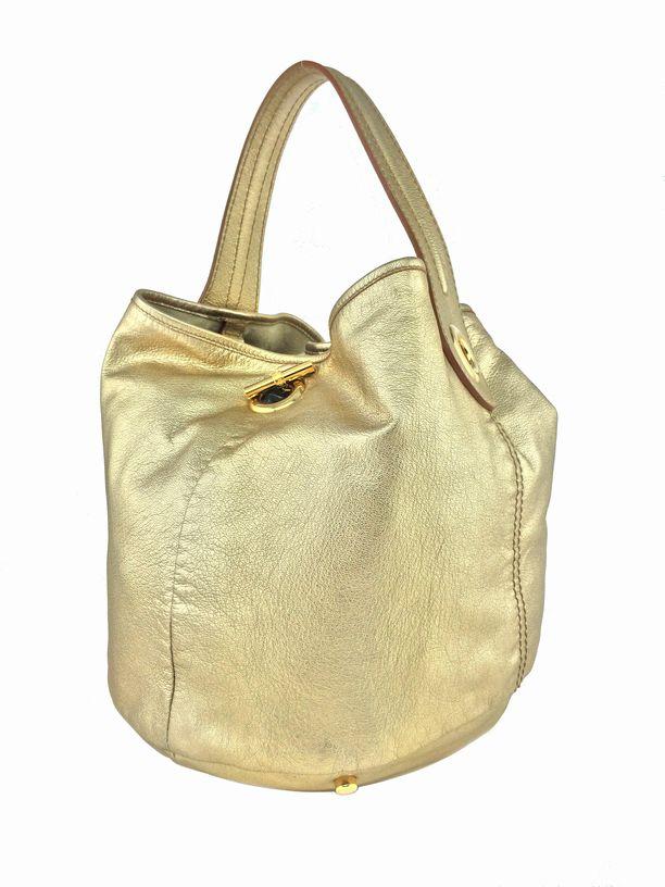 Yves Saint Laurent YSL Leather Medium Capri Bucket Bag Tote Gold ...