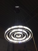 3 Circles Modern Silver Metal and Crystal Light Fixture
