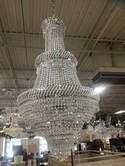 """3 Tier Gold And Crystal Chandelier 50"""" H  27"""" W"""
