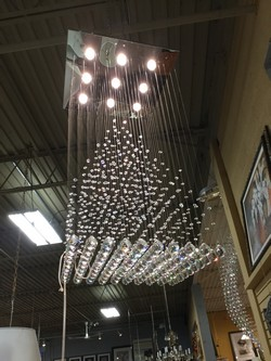 Bavarian Crystal and Square Silver Light Fixture