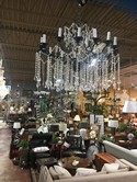 Black Metal and Crystal Chandelier 1 Tier