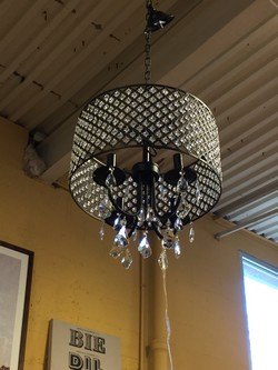 Black Metal and Crystal Light Fixture