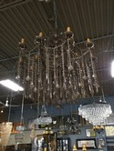 "Brown Metal & Glass 2 Tiered Chandelier w/Brown  Crystals - 37""W x 48""T"