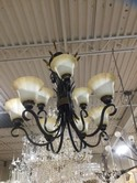 Chandelier / Rubbed bronze with gold wheat accent / 9 light w/ globes 30h 34w