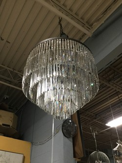 Chandelier/ 5 tier Bavarian crystal prisms/ 20 bulbs/ 32 x 28