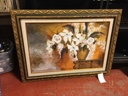 Floral Vase Gold Framed Matted Art