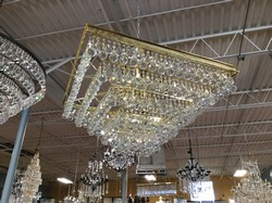 "Gold Square 5 Tier Chandlier - 18 Light - 34""T x 32"" W"