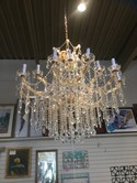 Gold and Crystal 2 Tiered Chandelier - 39W x 45H