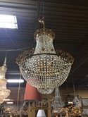 Gold and Crystal Chandelier w/Gold Floral Design
