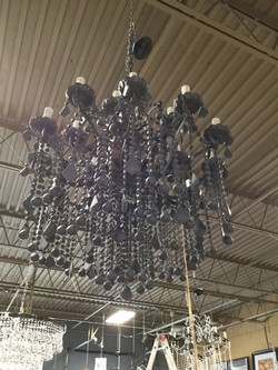 """Grey Metal & Glass 2 Tiered Chandelier w/Grey Crystals - 31""""W x 37""""T"""