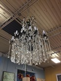 Iron and Crystal Chandelier with Draping Crystals