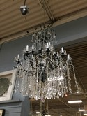 Large Black Metal and Crystal 2 Tier Chandelier