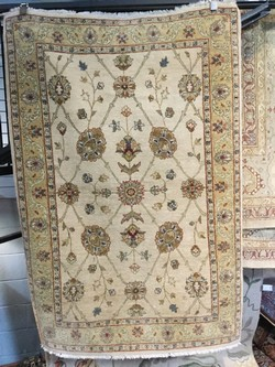 Persian Hand Knotted Wool Rug Beige on Beige Tones 48 x 72