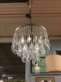 Pewter 22' round / 3 rows / French cut crystals, balls & prisms