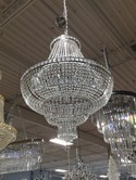 Silver Metal Pear Shape and Crystal Chandelier