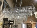 """Silver Tone Smooth Crystal  Rectangular l Chandelier - 42"""" W 18"""" D"""