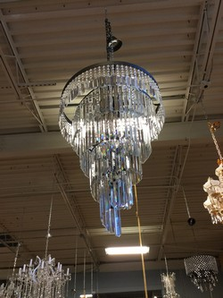 Silver and Crystal Swirl Chandelier