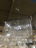 Square Chrome and Crystal Chandelier - 22 x 22 x 20H