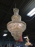 Three Tier Gold & Crystal Chandelier Basket Style