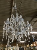 White Metal Crystal Chandelier WIth 6 Lights