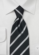 For the Groom, Classic Black and Silver stripe tie