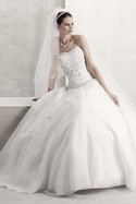 Oleg Cassini Style CT258  White dropped waist ballgown
