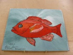 Decorative Red Fish on Tile