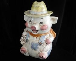 Farmer Pig Cookie Jar