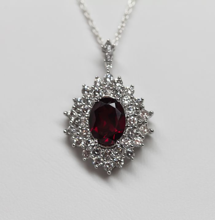 18kwg garnet and diamond pendant design with consignment llc view detailed images 3 aloadofball Images