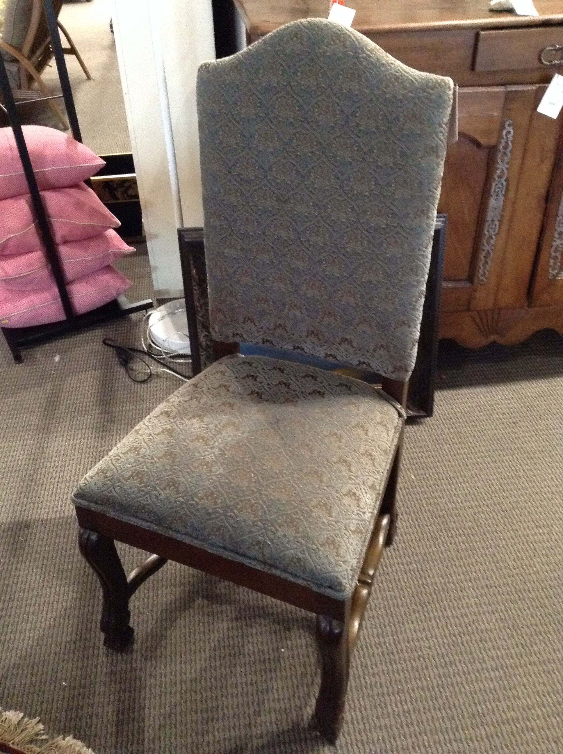 Blue Brown Chenille Accent Chair Design With Consignment Llc