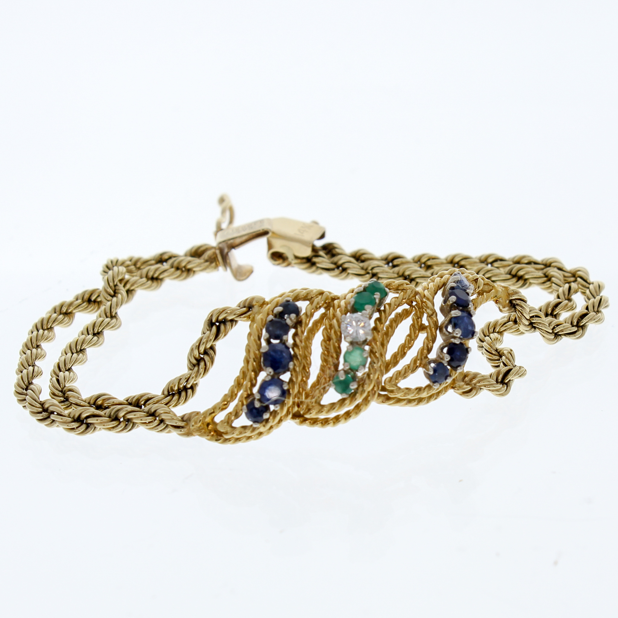 Diamond Shire And Emerald Gold Bracelet 80882a Jpg
