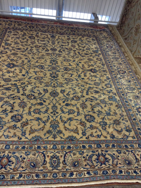 Fine Rugs Cream With Blue Border 7 3 X 4 2 Design