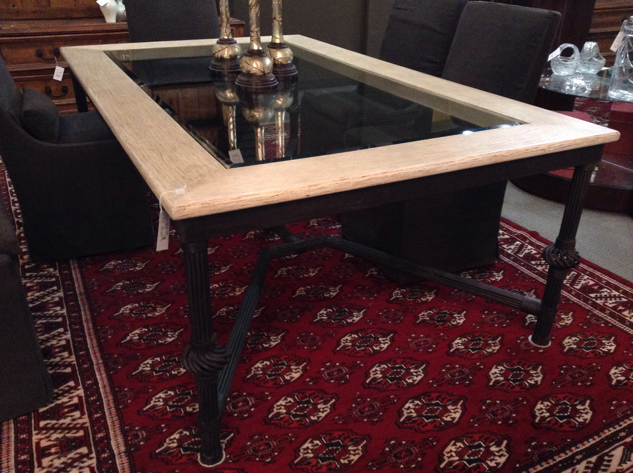 Glass Wood And Iron Dining Table Design With Consignment Llc