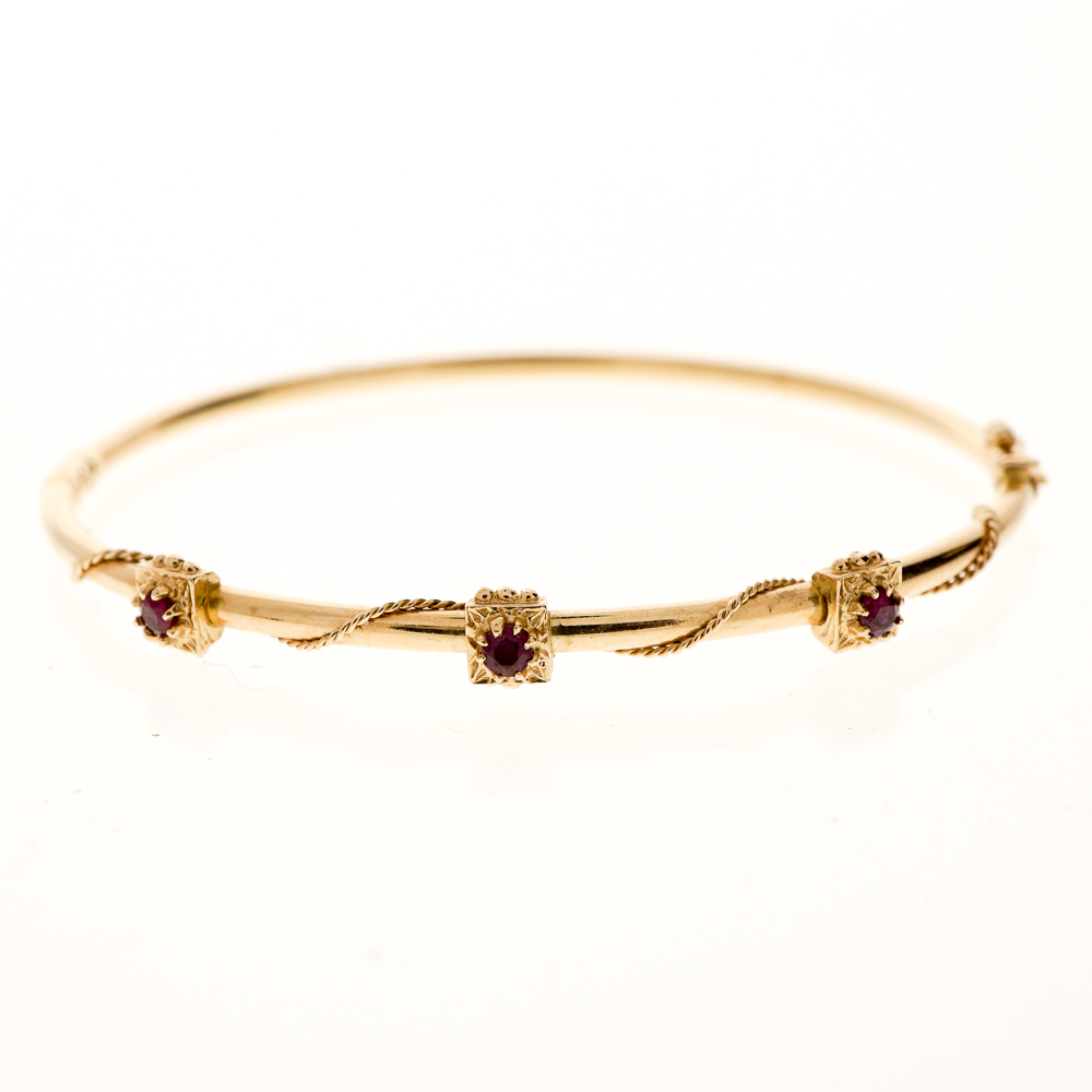 Gold Bangle Bracelet With Ruby Accents 73375a Jpg