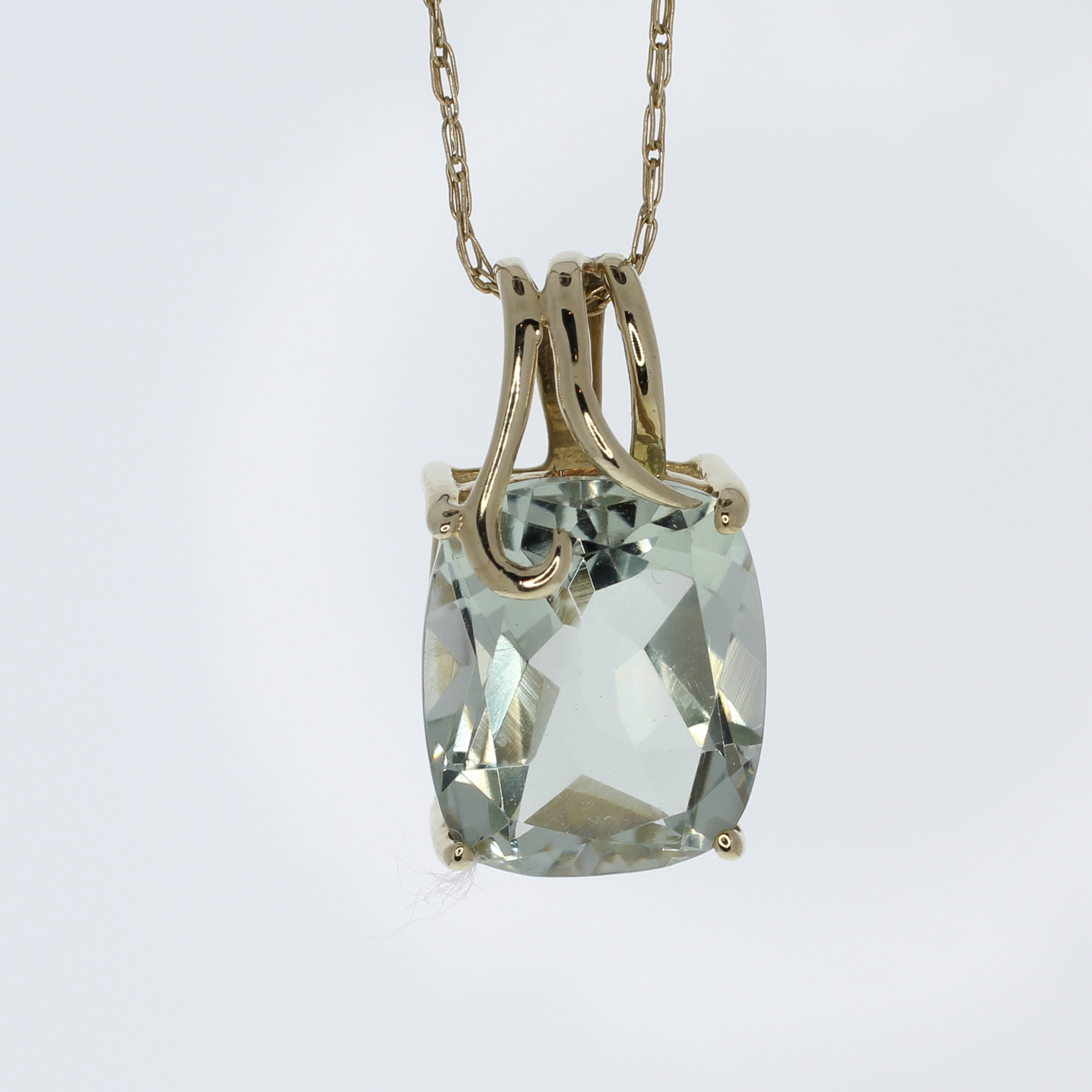 Green amethyst pendant with gold chain design with consignment llc green amethyst pendant with gold chain79165ag aloadofball Images