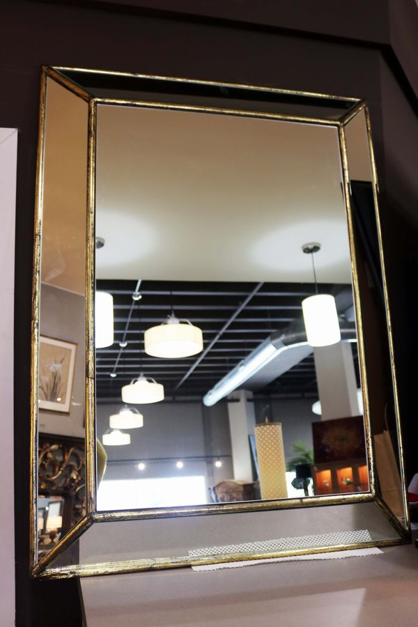 mirrored framed mirror w gold frame trim detail_51039a