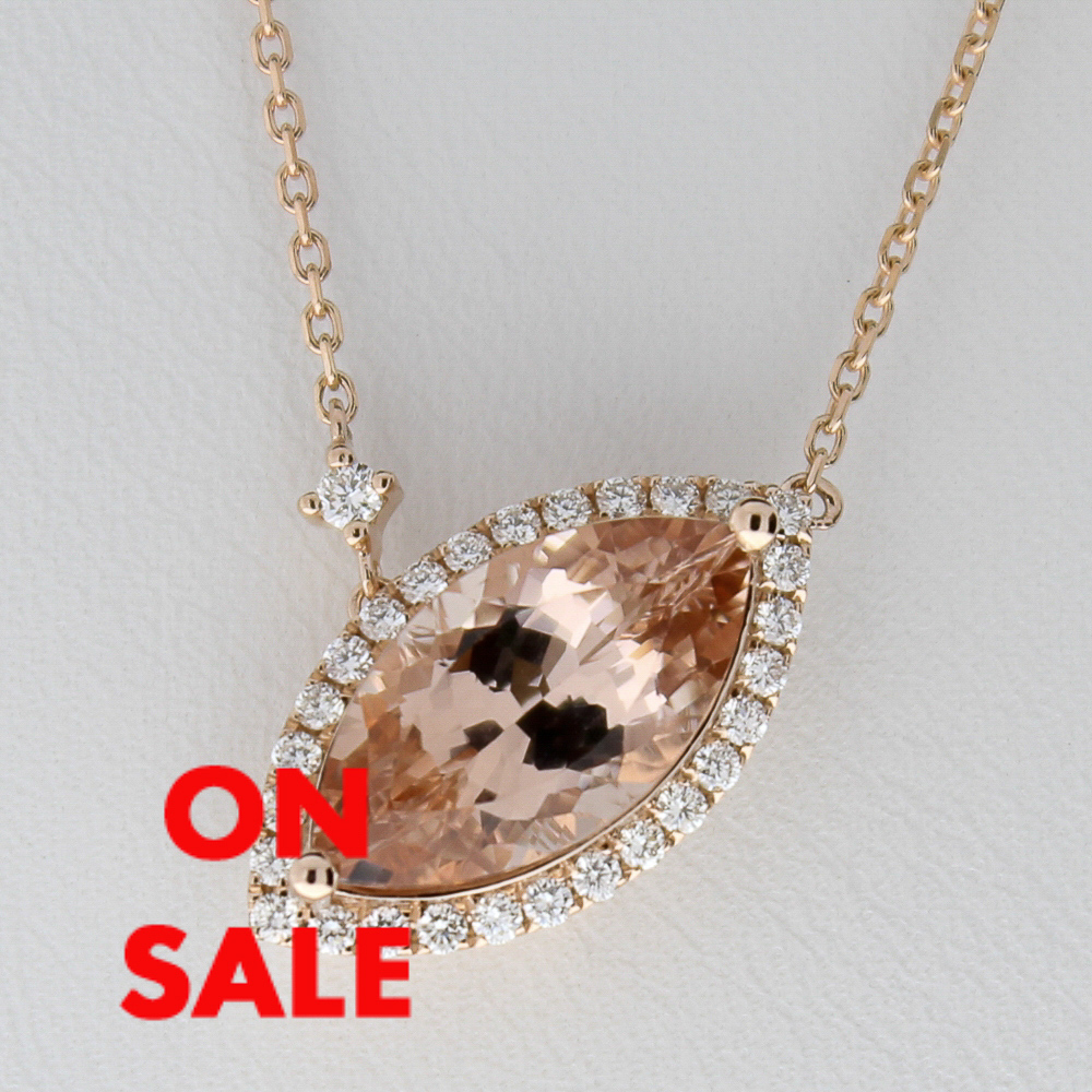 Morganite and diamond pendant with rose gold chain design with morganite and diamond pendant with rose gold chain74098a aloadofball Gallery