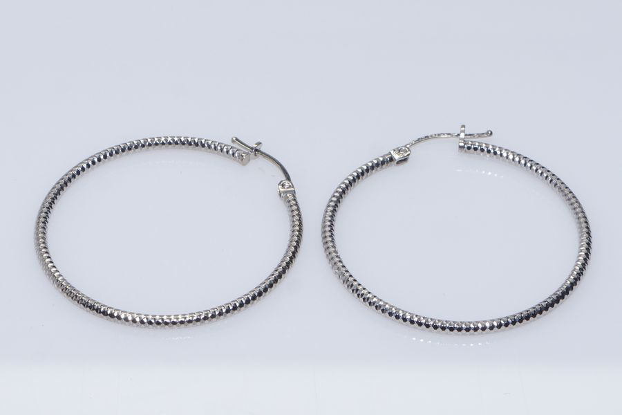 White Gold Hoop Earrings 72081a Jpg