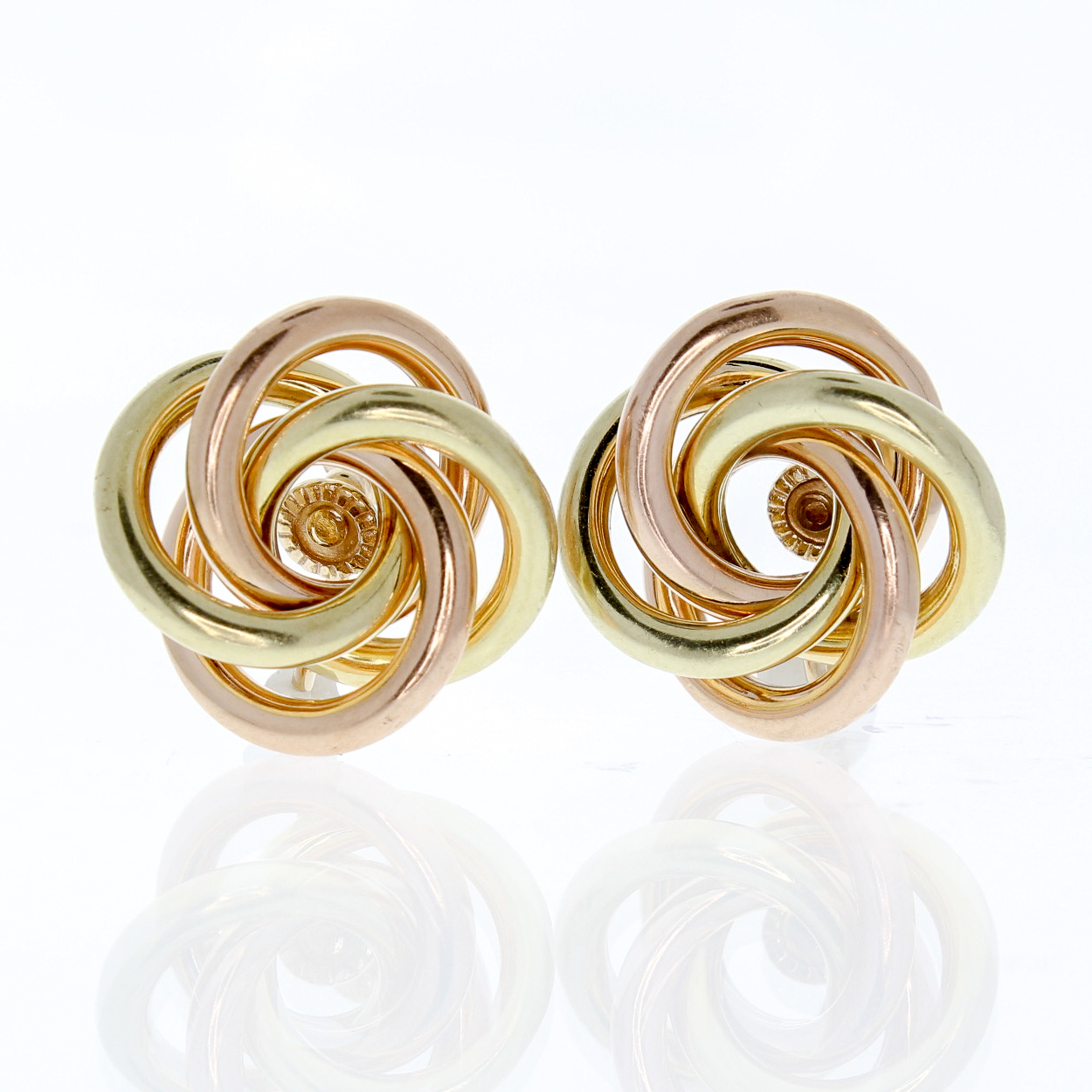 Yellow And Rose Gold Knotted Earrings 83431a Jpg