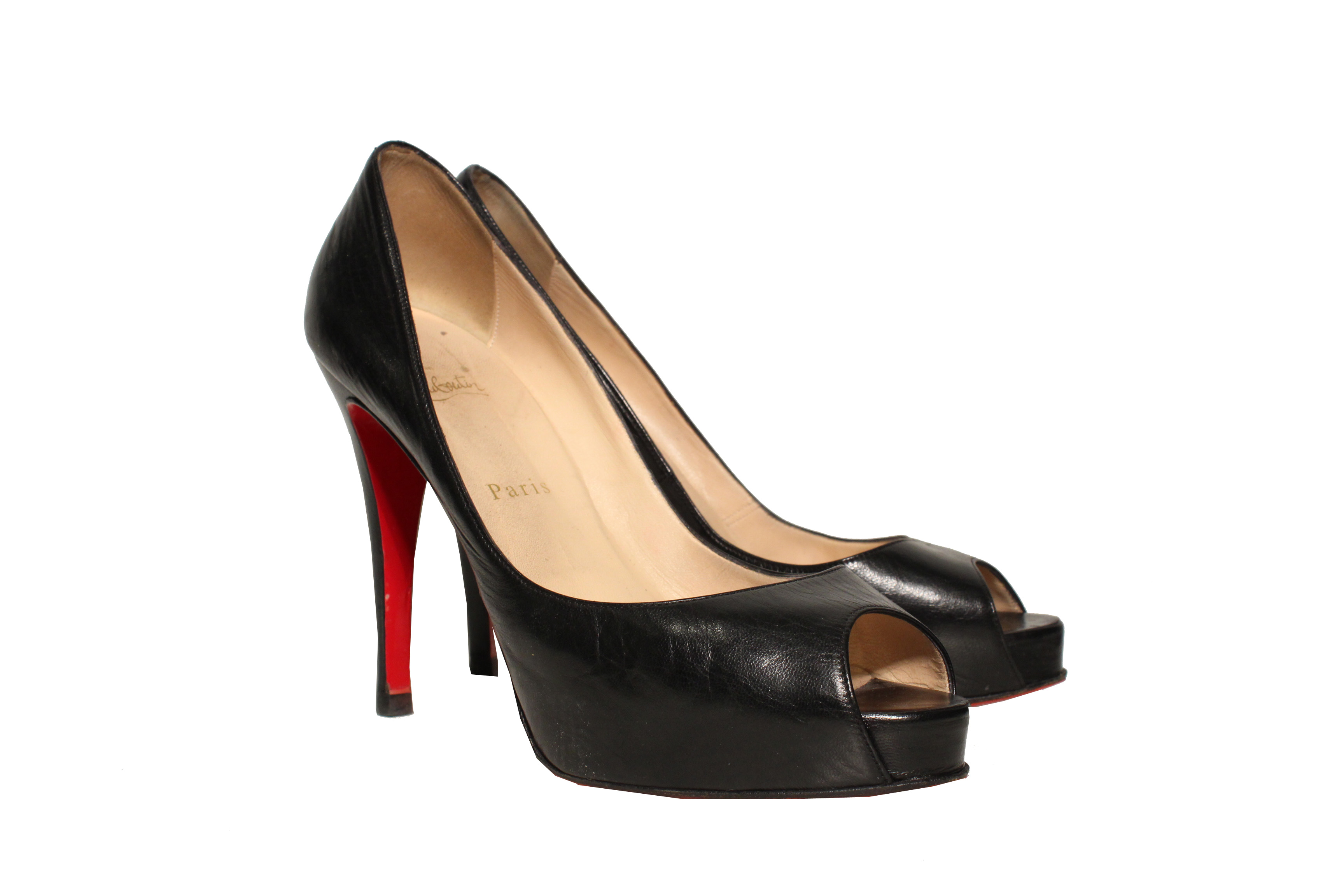 christian louboutin very prive beige peep toe pumps