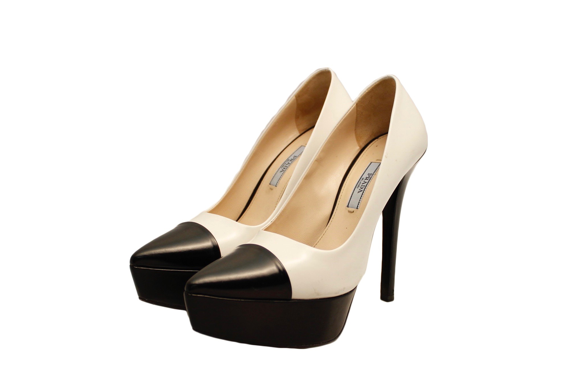 prada leather almond toe pump reviews